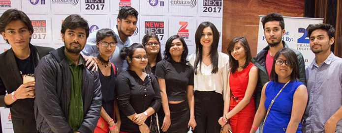 Shereen Bhan, Managing Editor, CNBC-TV18 with SJMC students at ENBA awards